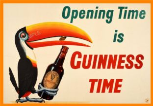 Vintage Guinness Poster - Opening time!